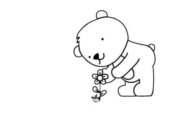 爱花的小熊简笔画步骤画法图片教程