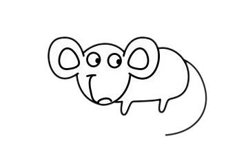 老鼠简笔画 线描老鼠简笔画简单步骤画法图