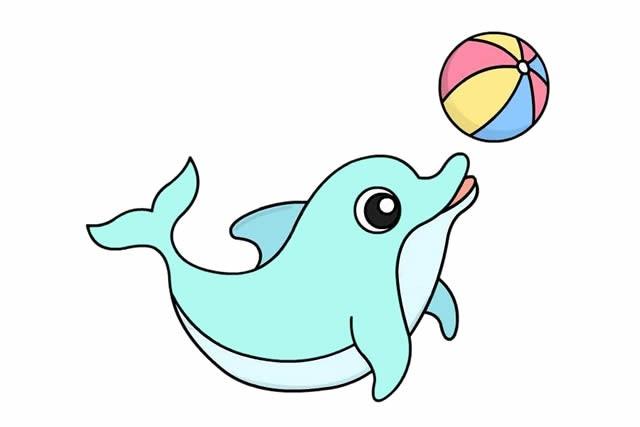 海豚简笔画 开心玩球的海豚简笔画步骤画法图片大全