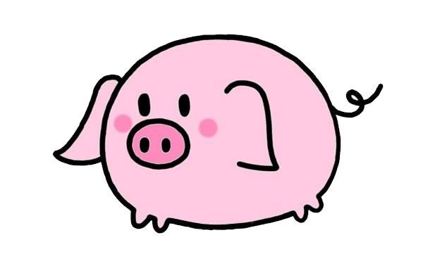 粉嘟嘟的可爱小猪简笔画画法图片