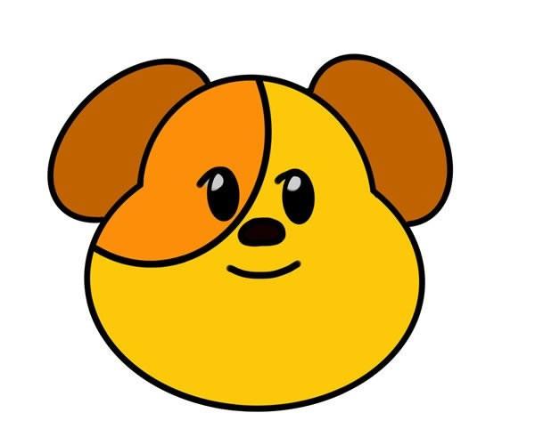 狗狗头像简笔画画法图片步骤带颜色