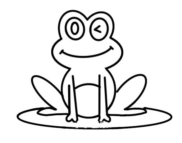 荷叶上的青蛙简笔画彩色