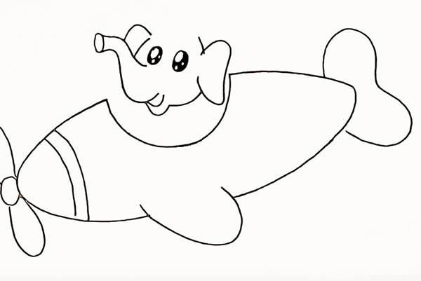 开飞机的大象简笔画