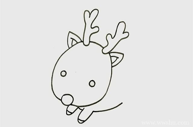 麋鹿简笔画彩色画法步骤图片