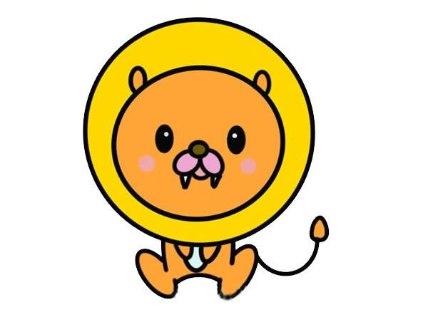 卡通狮子简笔画彩色画法步骤图片