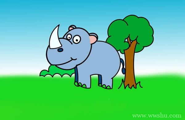 儿童画犀牛简笔画 树旁的犀牛简笔画画法步骤图片教程