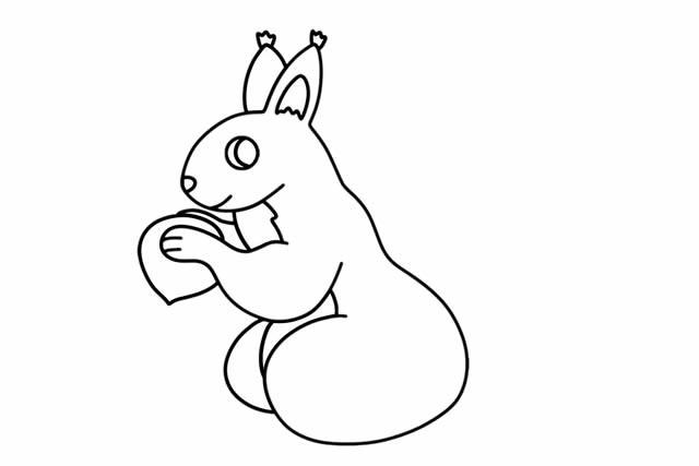 可爱的松鼠简笔画彩色图片 步骤画法教程