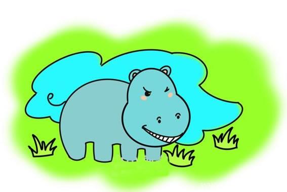 如何画河马儿童简笔画_河马简笔画画法步骤图片