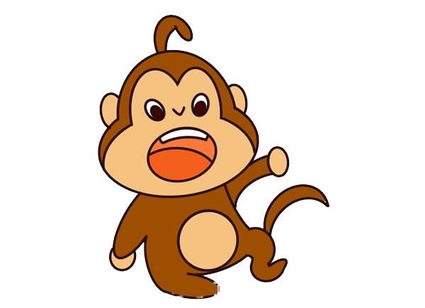 可爱卡通猴子简笔画彩色画法步骤图片