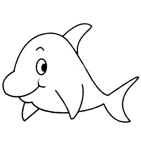 【海豚简笔画图片大全】幼儿学画海豚简笔画的画法步骤教程