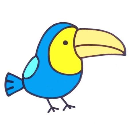 【啄木鸟简笔画彩色图片】幼儿学画啄木鸟简笔画的画法步骤教程