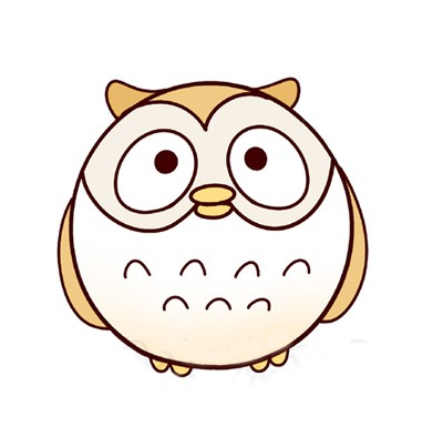 【猫头鹰简笔画七步画出】可爱的猫头鹰简笔画的画法步骤教程