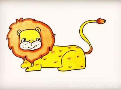 【狮子简笔画图片彩色】儿童学画狮子简笔画的画法步骤教程