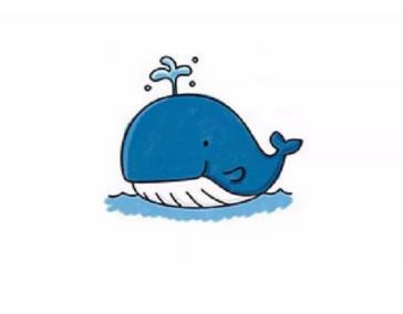 【鲸鱼简笔画彩色图片】儿童学画鲸鱼简笔画的画法步骤教程