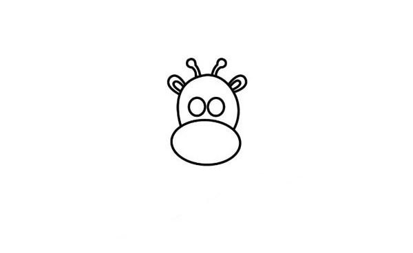 【长颈鹿简笔画彩色】高兴的长颈鹿简笔画步骤教程