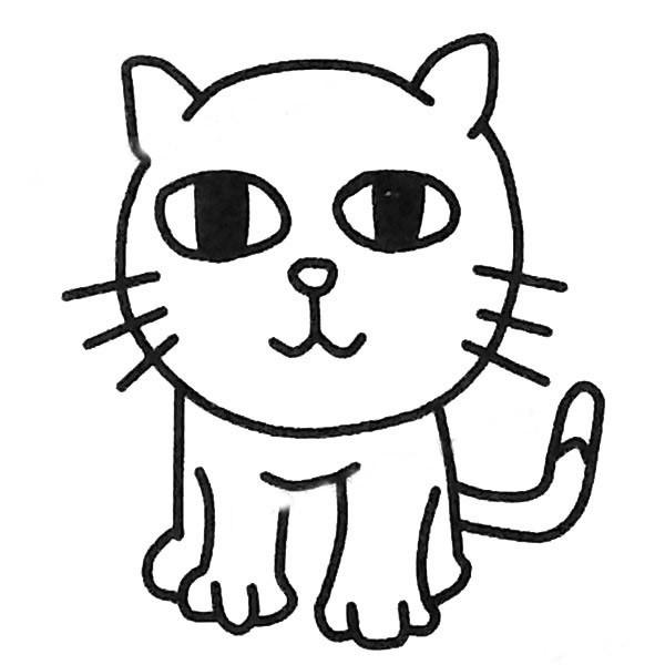 小猫简笔画图片大全 幼儿学画可爱的小懒猫简笔画大全