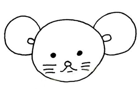 【简笔画老鼠的画法】五步画出可爱的小老鼠简笔画画法步骤图片