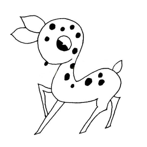 【简笔画梅花鹿的画法】一组可爱的梅花鹿简笔画图片