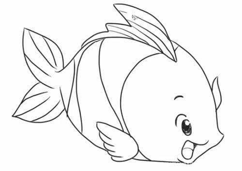 卡通鱼简笔画 - 可爱的鱼简笔画步骤教程
