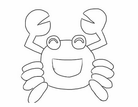 螃蟹简笔画 - 卡通开心的螃蟹简笔画画法步骤教程图片