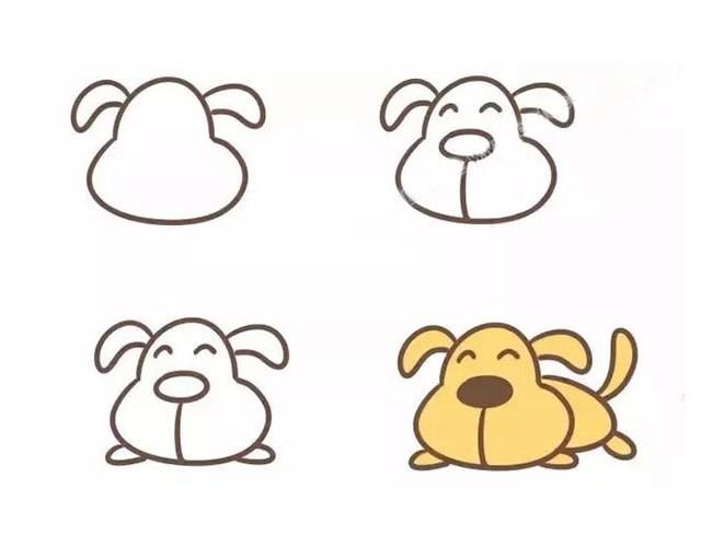小狗简笔画如何画?四种小狗简笔画的画法步骤图