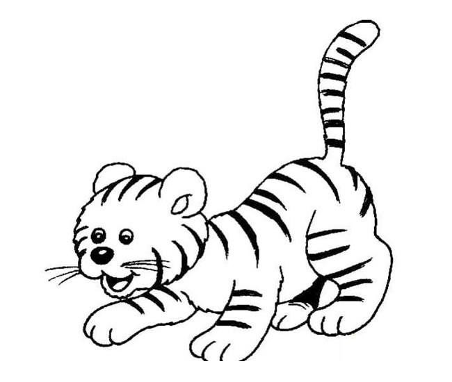 可爱的小虎崽简笔画图片_老虎简笔画