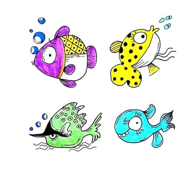 12种海洋鱼类简笔画画法彩色 - 海洋鱼类简笔画