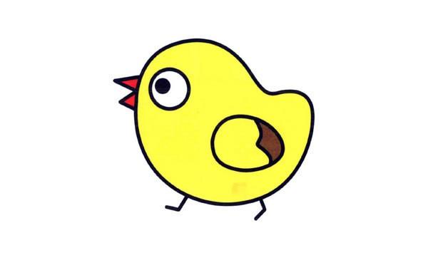 小鸡简笔画 - 可爱小黄鸡简笔画的画法