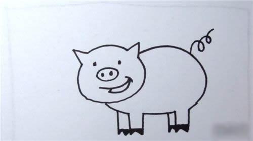 小猪简笔画的画法步骤图解教程 - 小猪简笔画如何画