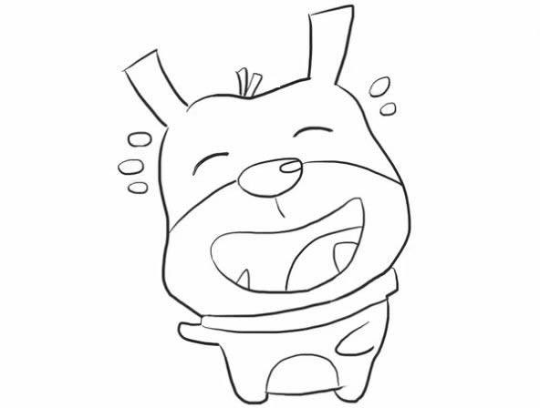 大笑的狗狗简笔画步骤图解教程 - 卡通小狗如何画简笔画