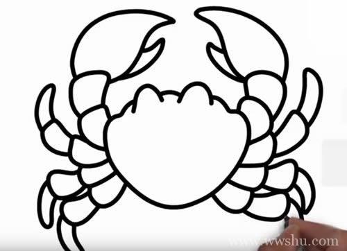 螃蟹简笔画步骤图解教程 - 如何画螃蟹简笔画图片