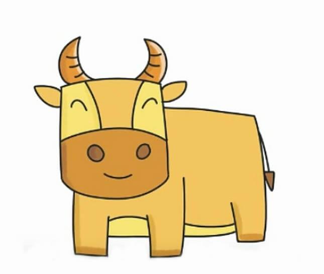 黄牛动物简笔画如何画 大黄牛简笔画的画法步骤图解教程