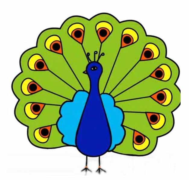 孔雀开屏带颜色简笔画 教你画美丽的孔雀简笔画步骤图片教程