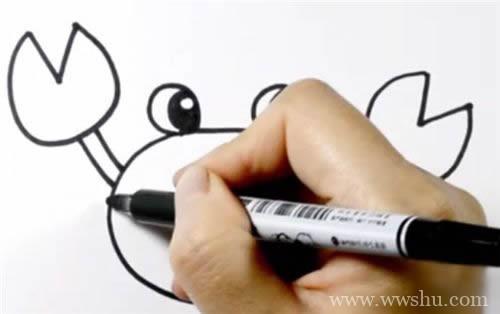 怎样画螃蟹简笔画 简笔画螃蟹的画法步骤图片