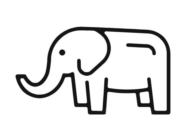 大象简笔画 简笔画大象的简单画法图片