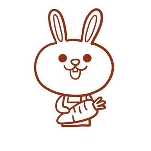 可爱的卡通兔子简笔画图片 拿胡萝卜小兔子简笔画步骤图片