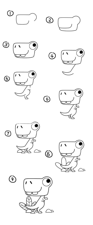 彩色的卡通恐龙简笔画 恐龙简笔画步骤图解教程