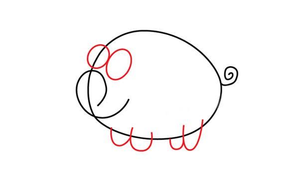 【小猪简笔画教程】简单小猪简笔画步骤图片大全