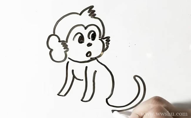 【猴子简笔画教程】简单的猴子简笔画步骤图片大全