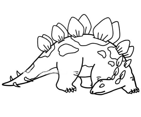 【恐龙简笔画】简单的剑龙简笔画图片