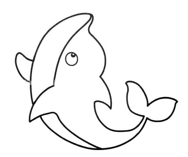 可爱的小海豚简笔画图片