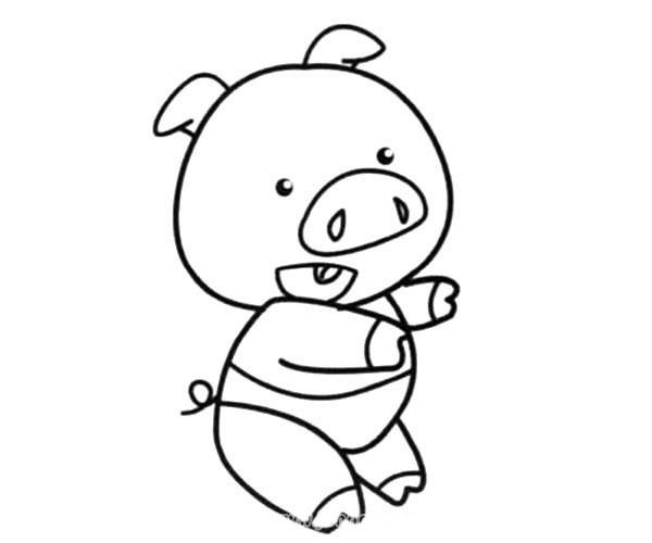 学走路的卡通小猪简笔画_小猪简笔画