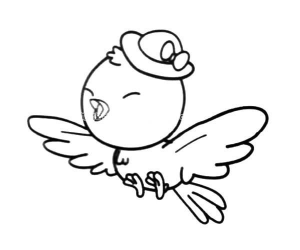 开心的卡通小鸟简笔画_小鸟的简单画法