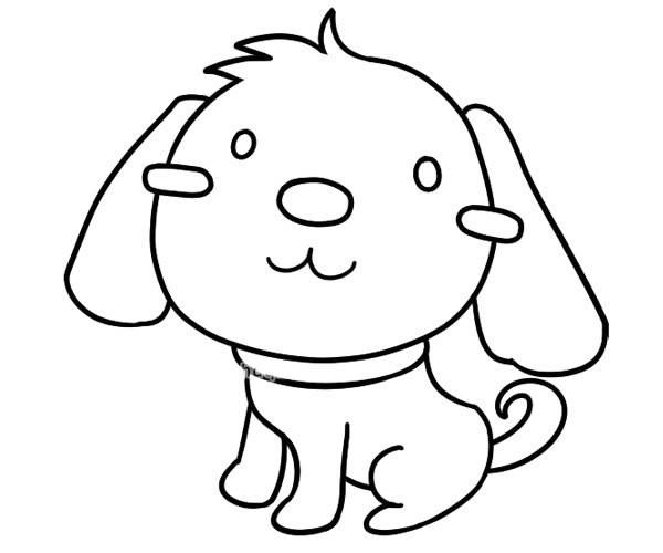 活波可爱的小狗简笔画_小狗的简单画法