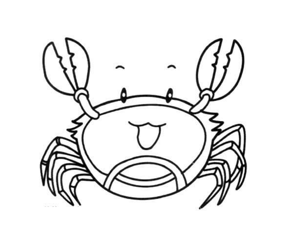 开心的卡通螃蟹简笔画图片_卡通螃蟹的简单画法