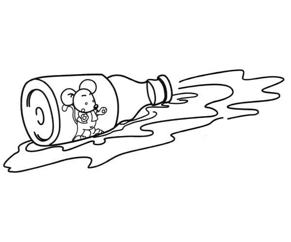 掉到瓶子里的小老鼠简笔画_小老鼠的简单画法