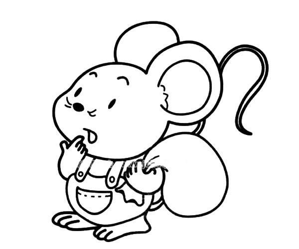 背着包裹的卡通老鼠简笔画_卡通老鼠的简单画法