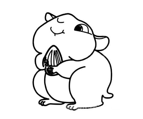 贪吃的仓鼠简笔画图片_卡通仓鼠的简单画法