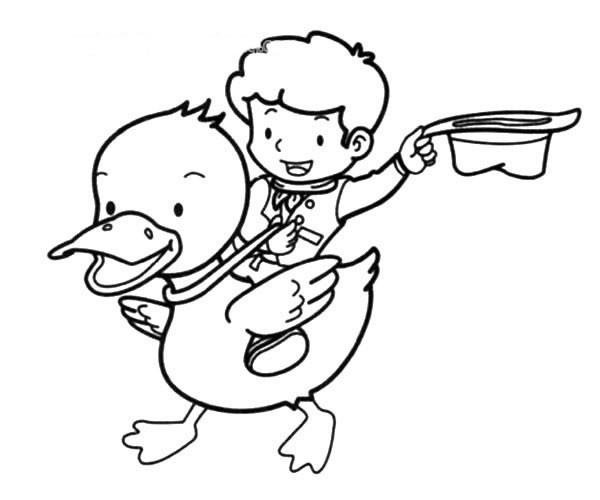 小男孩骑鸭子简笔画图片_小男孩骑鸭子的简单画法