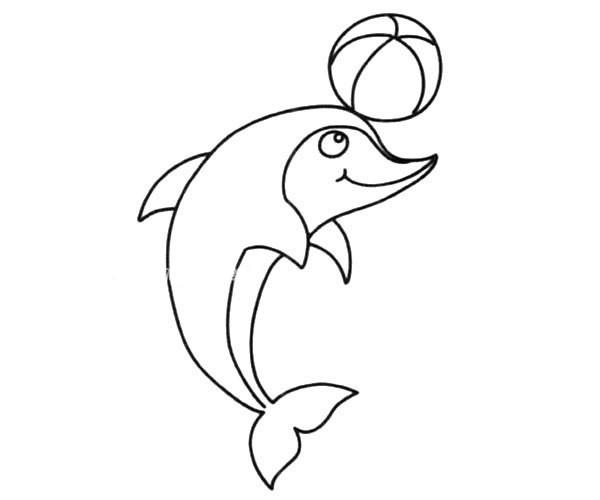 顶篮球的海豚简笔画图片_海豚顶球的简单画法